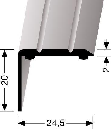 HOEKSTRIP 20MM HOOG - Aluminium